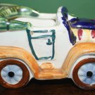 VINTAGE SMALL JALOPY POTTERY CAR COLORFUL PLANTER