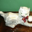 VINTAGE GREEN EYED GRAY PLAYING KITTEN CAT PLANTER