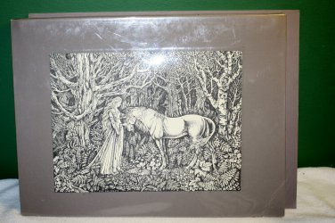 THE TAMING OF THE UNICORN SIGNED PRINT BY JUDY KING RIENIETS ORIGINAL