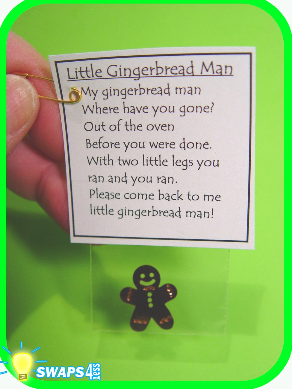Runaway Gingerbread Man Christmas Girl Scout Swaps Craft Kit From