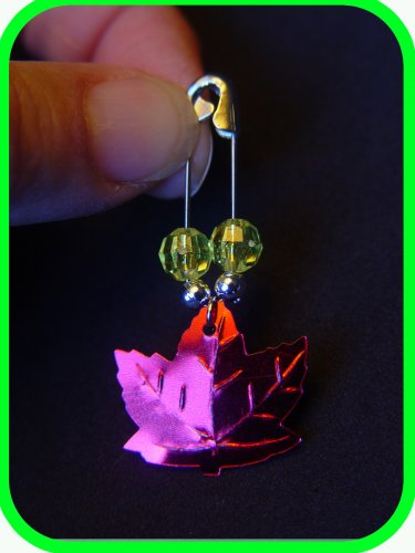 "HARVEST, FALL or HALLOWEEN Maple Leaf Coil-less Charm Pin ""Girl Scout"" SWAPS Craft Kit by Swaps4Less"