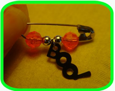"""Halloween """"BOO!"""" Coil-less Charm Pin """"Girl Scout"""" or """"Boy Scout"""" SWAPS Craft Kit by Swaps4Less.com"""