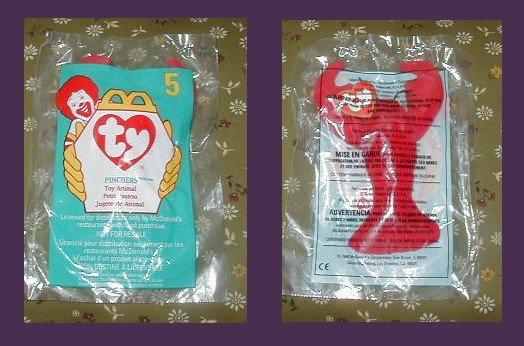 TY TEENIE BEANIE BABY - PINCHERS !  MIP MCDONALDS 1998 collection