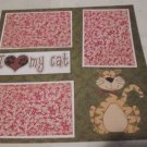 """I Love My Cat Brown a""-Premade Scrapbook Page 12x12"