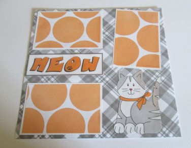 """Meow 1""-Premade Scrapbook Page 12x12"