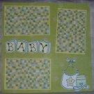 """Baby Bibs Boy""-Premade Scrapbook Page 12x12"