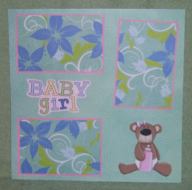 """Baby Girl Bear""-Premade Scrapbook Page 12x12"