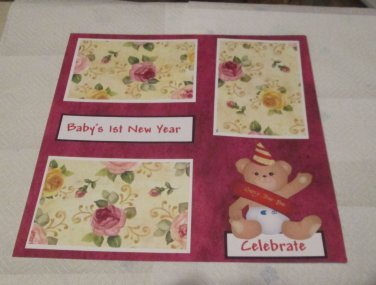 """""""Baby's 1st New Year Girl""""-Premade Scrapbook Page 12x12"""