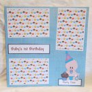 """Baby's 1st Birthday Baby Boy""-Premade Scrapbook Page 12x12"