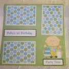"""Baby's 1st Birthday Boy 2a""-Premade Scrapbook Page 12x12"