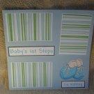 """Baby's 1st Steps Boy""-Premade Scrapbook Page 12x12"