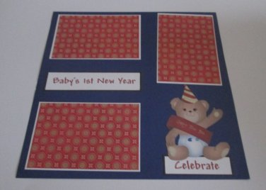 """""""Baby's 1st New Year a""""-Premade Scrapbook Page 12x12"""