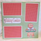 """Baking Cookies Gingerbread w/Tray""-Premade Scrapbook Page 12x12"