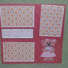 """Beary Happy Birthday Girl""-Premade Scrapbook Page 12x12"