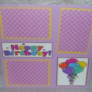 """Happy Birthday Balloons""-Premade Scrapbook Page 12x12"