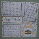 """""""Happy Birthday Bear w/cake on face""""-Premade Scrapbook Page 12x12"""