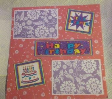 """Happy Birthday Cake 2a""-Premade Scrapbook Page 12x12"