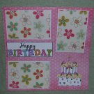 """Happy Birthday Cake""-Premade Scrapbook Page 12x12"