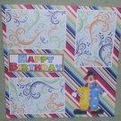 """Happy Birthday Clown 3a""-Premade Scrapbook Page 12x12"