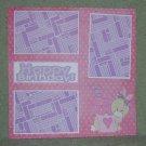 """Hoppy Birthday 2 tc""-Premade Scrapbook Page 12x12"