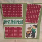 """First Haircut Boy bl""-Premade Scrapbook Page 12x12"