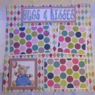 """Hugs and Kisses Boy bl 2b""-Premade Scrapbook Page 12x12"