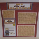 """""""My First Glasses Boy bl""""-Premade Scrapbook Page 12x12"""