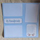"""My Handprints Boy""-Premade Scrapbook Page 12x12"