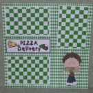 """Pizza Delivery Boy""-Premade Scrapbook Page 12x12"