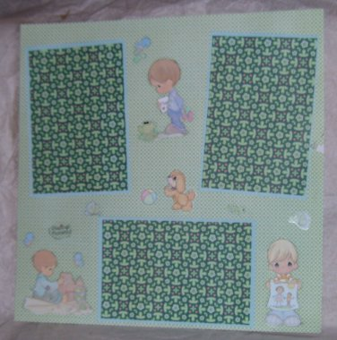 """Precious Moments Boy 2 st""-Premade Scrapbook Page 12x12"
