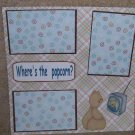 """Where's The Popcorn 2""-Premade Scrapbook Page 12x12"