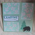 """Camping Bear and Tree""-Premade Scrapbook Page 12x12"