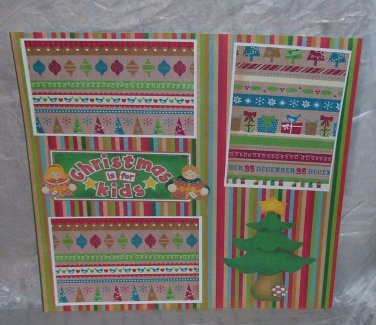 """Christmas Is For Kids Tree""-Premade Scrapbook Page 12x12"