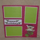 """""""Happy Holidays Bear in stocking""""-Premade Scrapbook Page 12x12"""