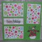"""Happy Holidays Snowman 1""-Premade Scrapbook Page 12x12"
