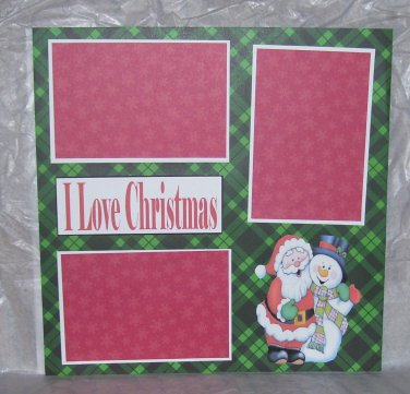 """I Love Christmas""-Premade Scrapbook Page 12x12"