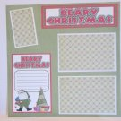 """Beary Christmas Santa and Tree bl""-Premade Scrapbook Page 12x12"