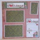 """Happy Holidays Presents bl""-Premade Scrapbook Page 12x12"