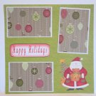 """Happy Holidays Santa and Bear a""-Premade Scrapbook Page 12x12"