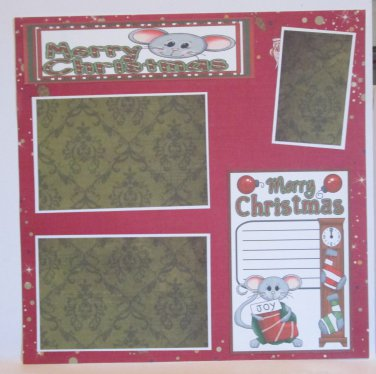 """""""Merry Christmas Mice bl 2b""""-Premade Scrapbook Page 12x12"""