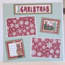 """Merry Christmas Santa and Deer bl""-Premade Scrapbook Page 12x12"