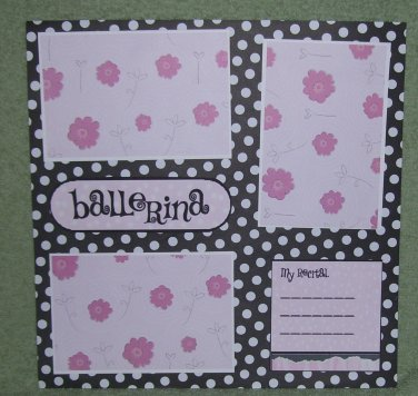 """Ballerina Journal""-Premade Scrapbook Page 12x12"