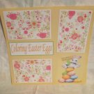 """Coloring Easter Eggs Rabbit Eggs""-Premade Scrapbook Page 12x12"