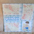"""""""Easter Wishes Boy bl""""-Premade Scrapbook Page 12x12"""