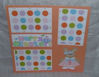 """Happy Easter Bunny Girl""-Premade Scrapbook Page 12x12"