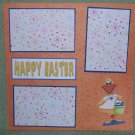 """Happy Easter Duck""-Premade Scrapbook Page 12x12"