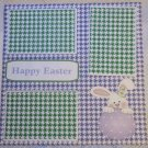 """Happy Easter Bunny Holding Egg 2a""-Premade Scrapbook Page 12x12"