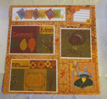 """Autumn bl 2a""-Premade Scrapbook Page 12x12"