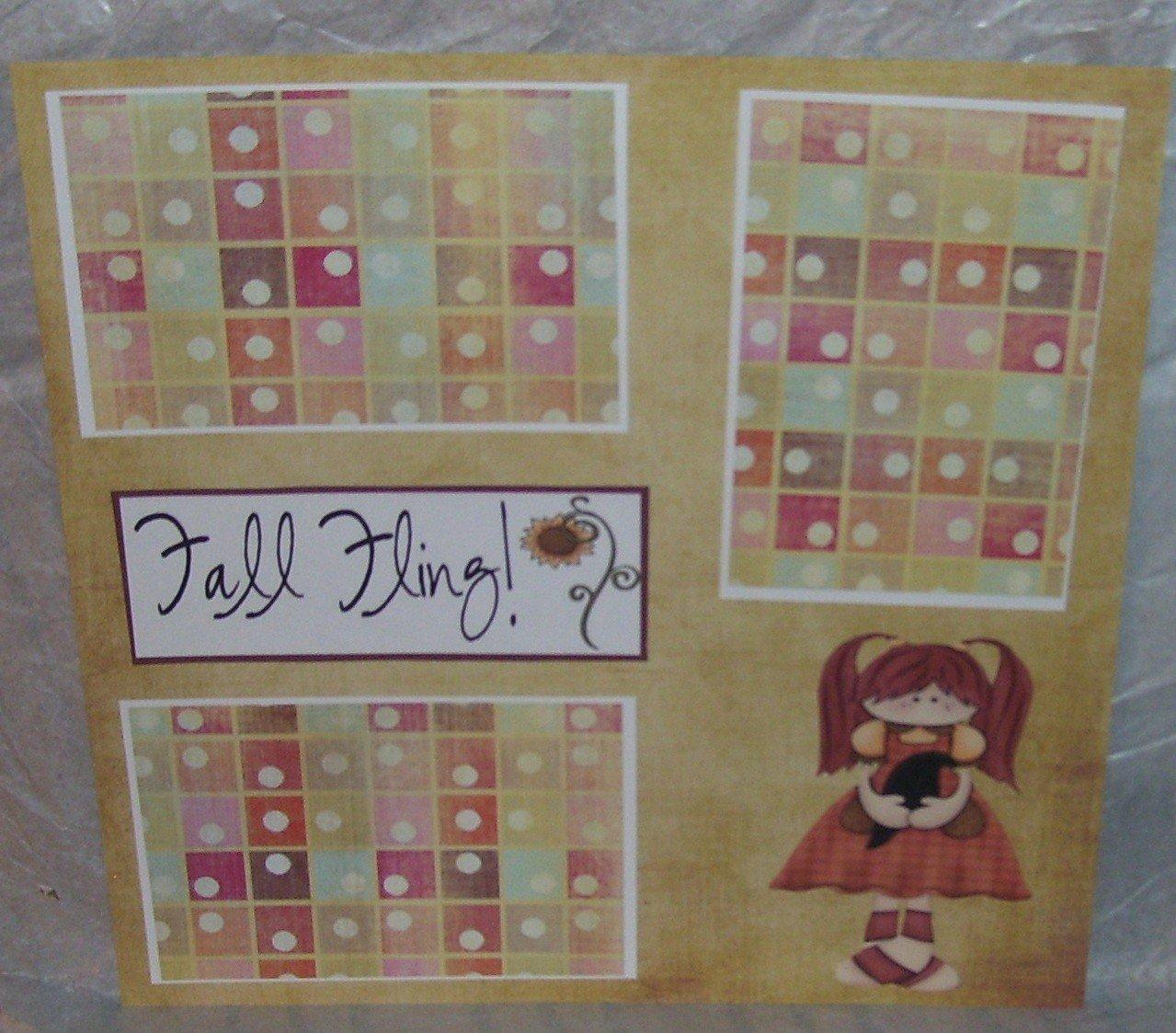 """Fall Fling""-Premade Scrapbook Page 12x12"