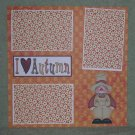 """I Love Autumn Scarecrow""-Premade Scrapbook Page 12x12"
